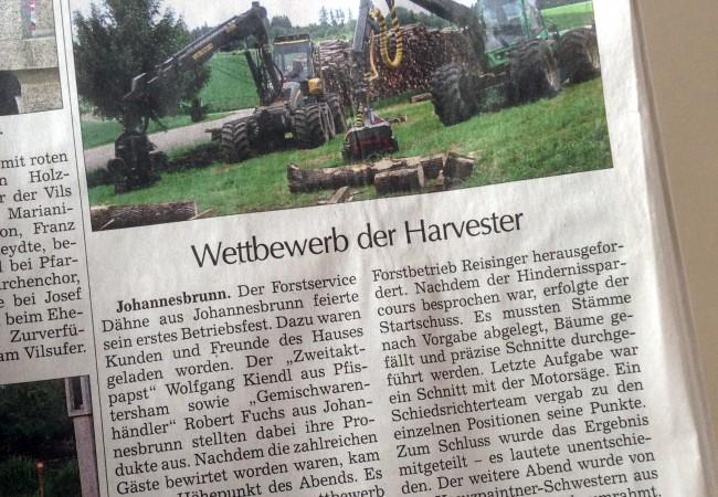 Zeitungsartikel zum Betriebsfest 2015 in der Vilsbiburger Zeitung